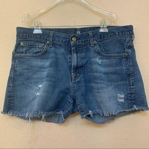 7 For All Mankind DIY Distressed Denim Shorts